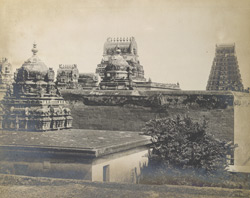 The main shrine and back gopura from south-west corner, Varadarajaperumal Temple, Conjeeveram